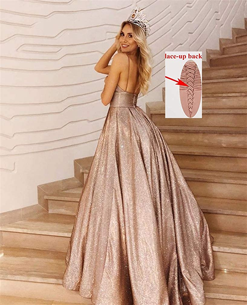 MARSEN Glitter Prom Dresses Long V Neck Spaghetti A-Line Formal Ball Gown with Pockets for Women Blush