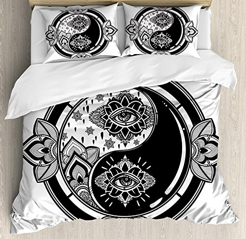 4 Piece Queen Size Duvet Cover Set,Yin Yang Mystical Third Eye Floral Asians Theme Ying Yang Sign,Bedding Set Luxury Bedspread(Flat Sheet Quilt and 2 Pillow Cases for Kids/Adults/Teens/Childrens -