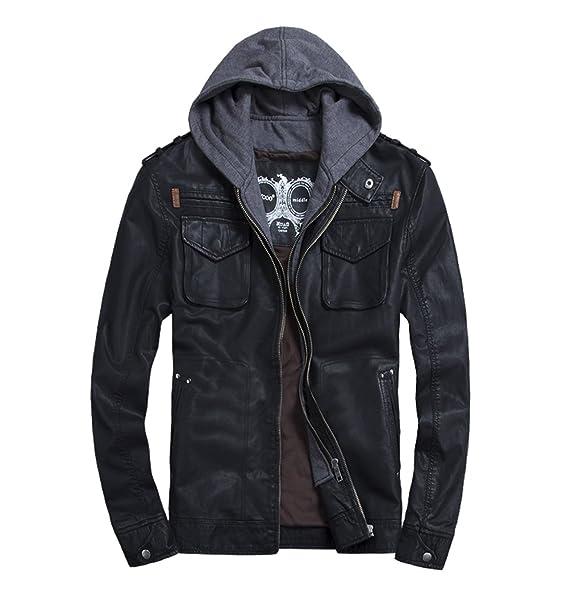 Lether Black Jacket Hooded