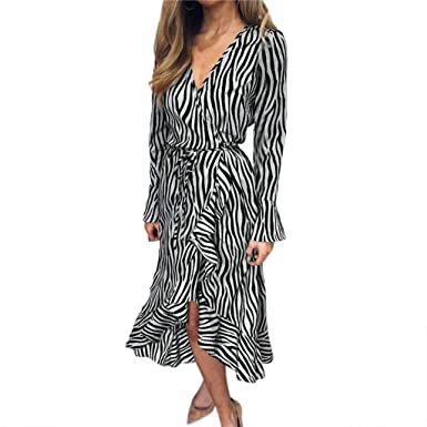 cfe3602cb0595 ANJUNIE Womens Tiger Pattern Print V Neck Bandage Long Sleeve Beach Casual  Midi Swing Dress(