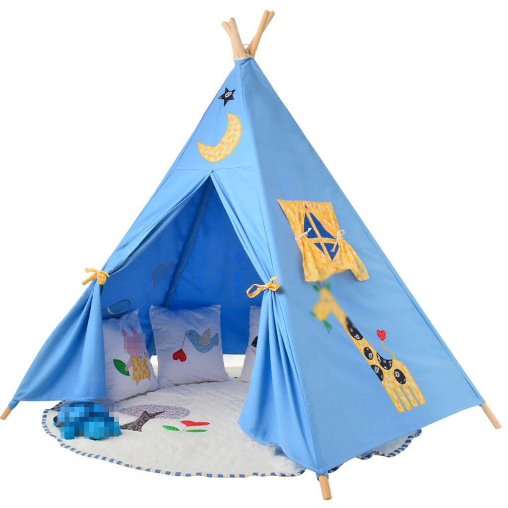 CHANG-dq 寝室のテント、赤ちゃんの屋内と屋外のテント大きなおもちゃの家のゲームの家刺繍のテントの写真の小道具100 * 150 * 150CM 家庭用テント (Color : Blue)  Blue B07T8GV1BZ