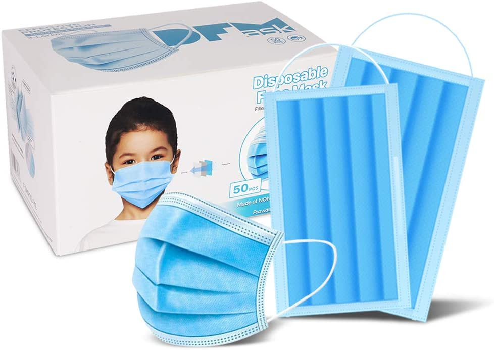 Child 50 Pc (Blue) 3-Ply Disposable Face Mask Earloop Protective Mouth Cover for Kid-Blue