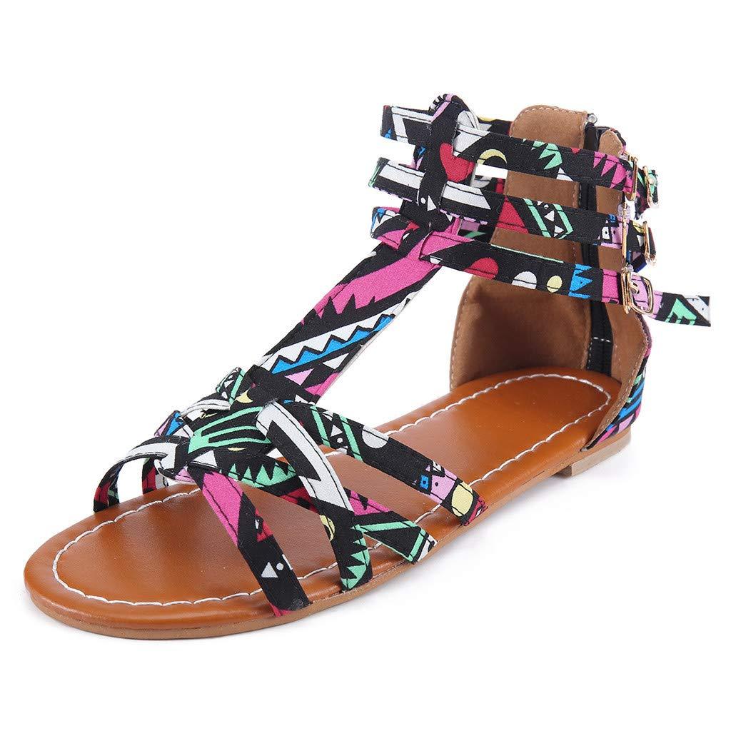 Orangeskycn Summer Boho Women Sandals Bohemian National Sandals Large Size Retro Roman Peep Toe Hollow Contrast Sandals Black by Orangeskycn Women Sandals (Image #3)