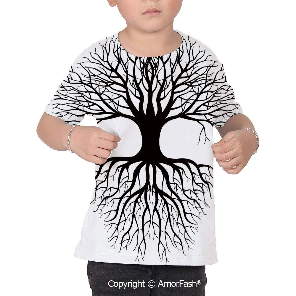 PUTIEN Tree of Life Decor Childrens Short Sleeve Cool T-Shirt,Polyester,Plant Silhouet