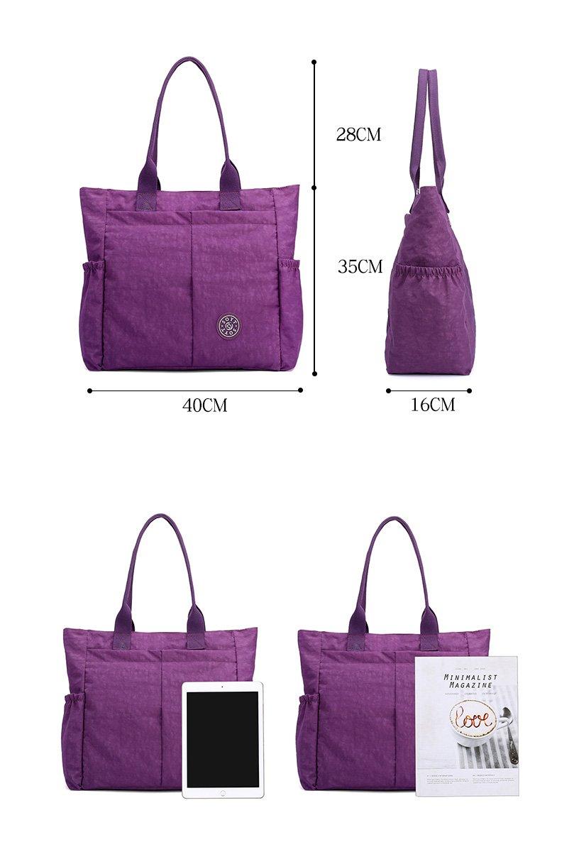 17f495cb2e08 Nylon Water Resistant Multi Pockets Large Lightweight Tote Bag Shoulder Bag  for Gym Hiking Picnic Travel