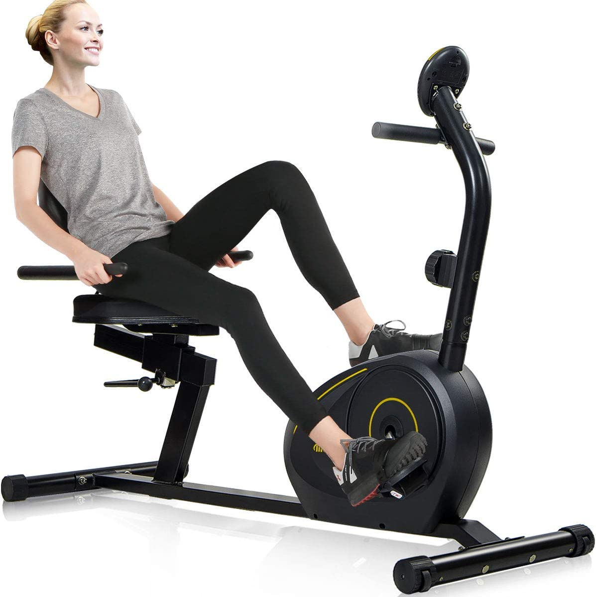 OneTwoFit Folding Exercise Bike,Indoor Upright Stationary Bike with Yoga Ball Adjustable Magnetic Resistance Tablet Stand for Cardio Workout Strength Training Fitness-220lbs Weight Support OT098