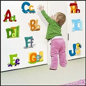 Letras del alfabeto, de contorno de letras minúsculas adhesivos decorativos para pared adhesivo de pegatinas decorativas para pared para niños espacio del arte de la pared 915, multicolor, 225cm / 64cm: Amazon.es: