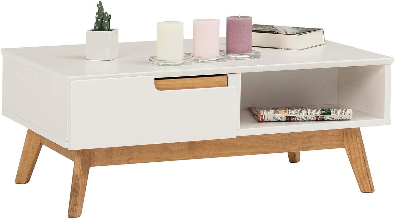Table basse de salon style scandinave avec 2 tiroirs et 2 niches en pin massif