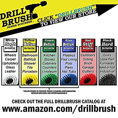 Cleaning Supplies - Drill Brush - 3 Brush Kit - White Soft for Leather, Glass, Carpet - Yellow Medium for Bathroom Surfaces: Bathtub, Shower, Sink, Flooring - Red Stiff for Outdoor Deck, Patio