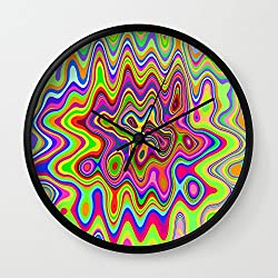 Society6 Psychedelic Glowing Colors Pattern Wall Clock Black Frame, Black Hands