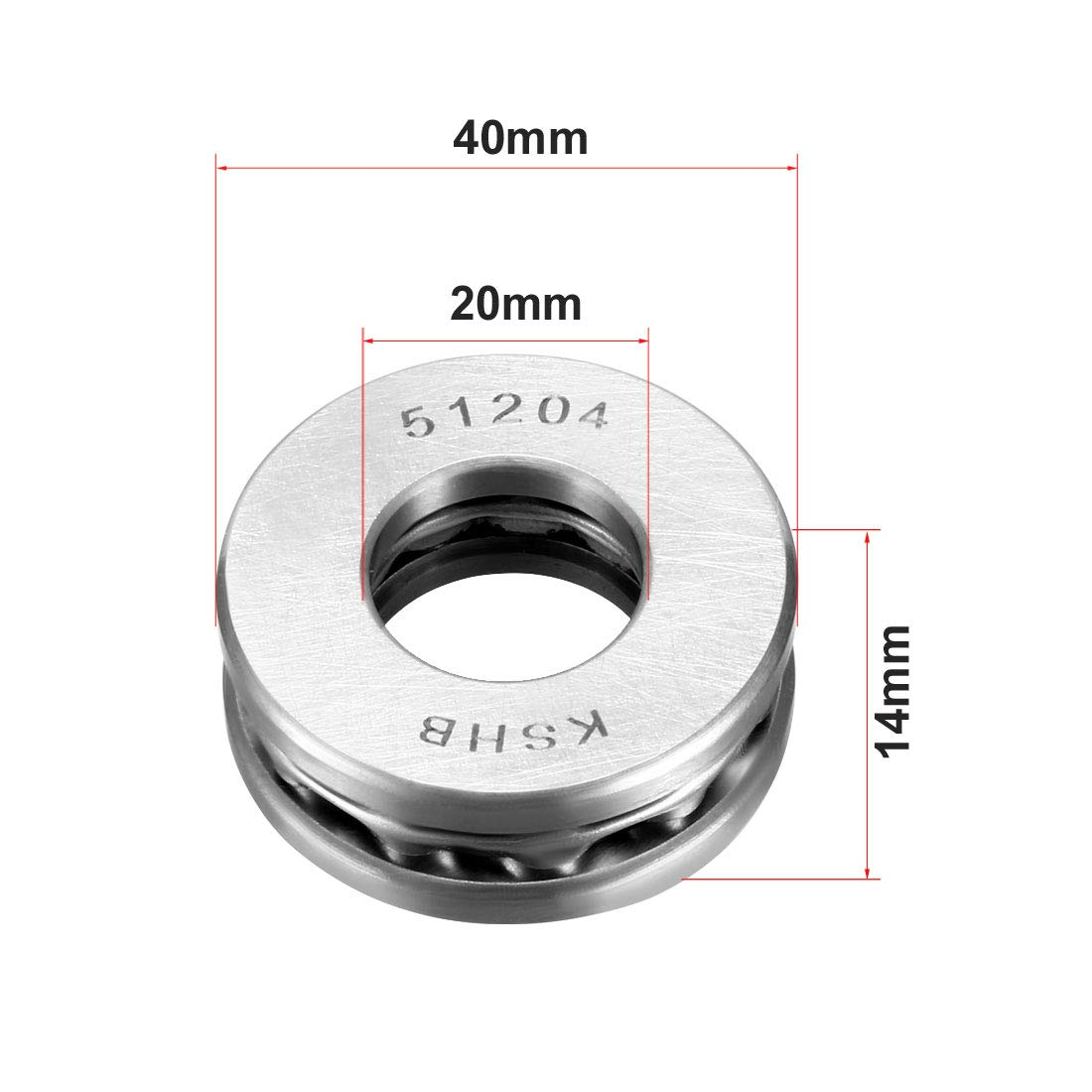 Pack of 2 sourcing map 51203 Single Direction Thrust Ball Bearings 17mm x 35mm x 12mm Chrome Steel