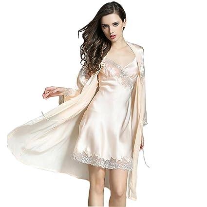 Mujer 100% seda pura Pijama Bata de noche Adecuado para verano / primavera Suave Frío