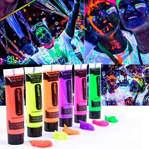 Sandistore Glow in Dark Body Paint Body&Face Glow Backlight Neon Fluorescent 3.3oz Set of 6 Tubes