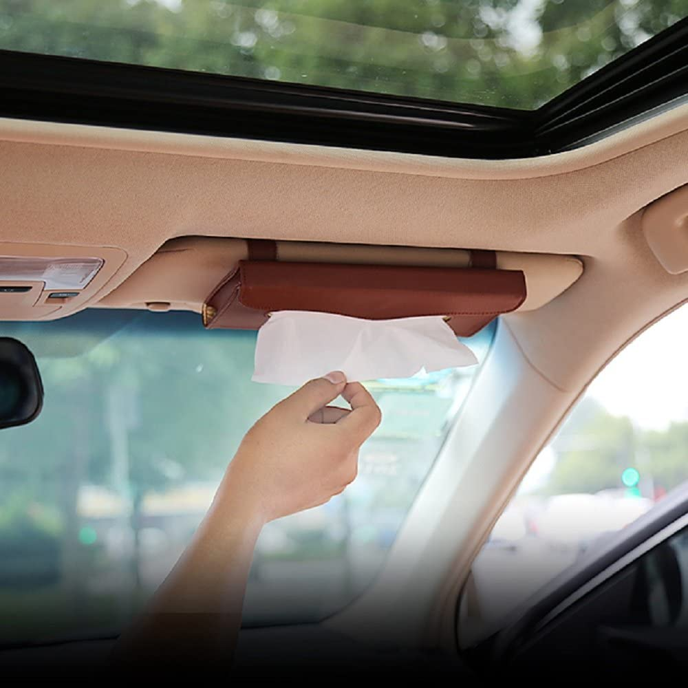 eJiasu Car Tissue Holder, Sun Visor Napkin Holder, Car Visor Tissue Holder, PU Leather Backseat Tissue case Holder for car,Vehicle(Brown)