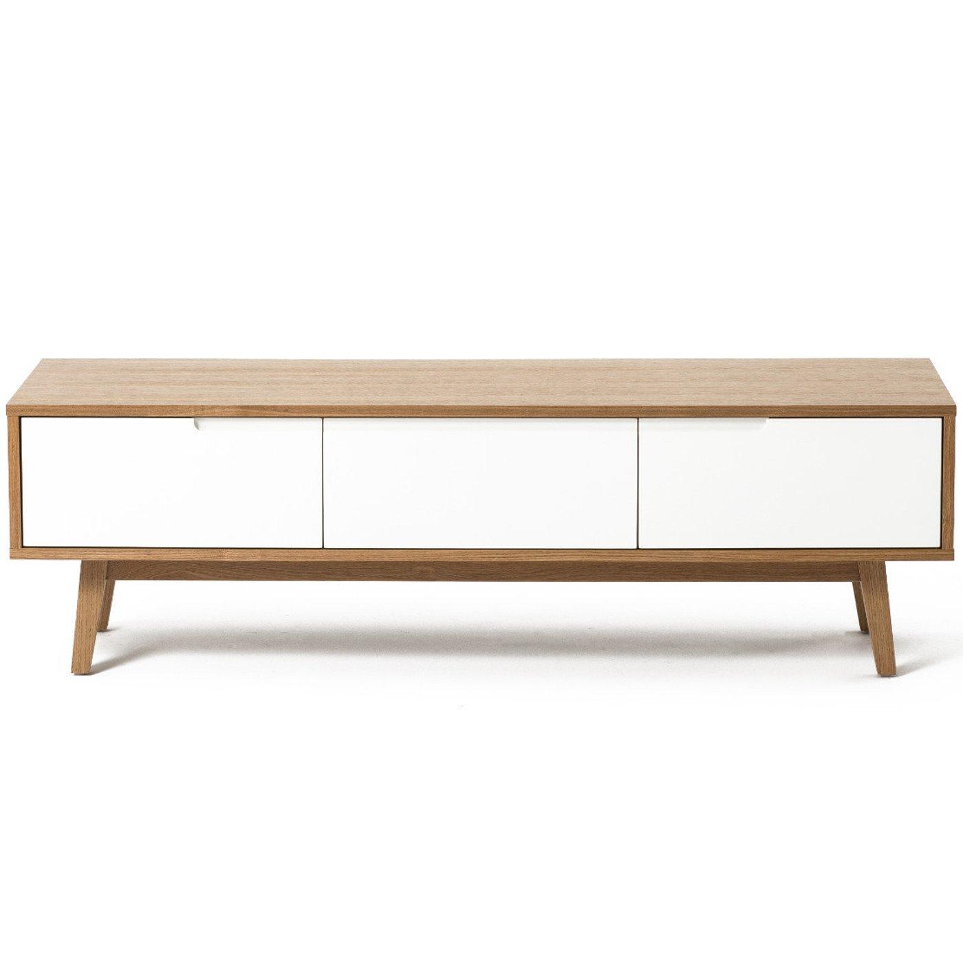 Meuble Tv Design Scandinave Alskar Ch Ne Et Blanc 150 Cm Amazon  # Meuble Tv Chene Blanc Scandinave
