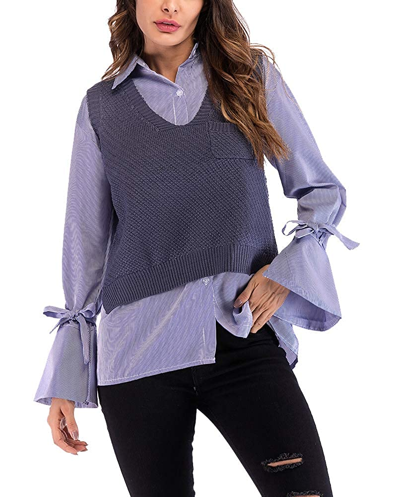 YouXin Womens Ladies V Neck Sleeveless Knitted Sweater Loose Vest Pullover