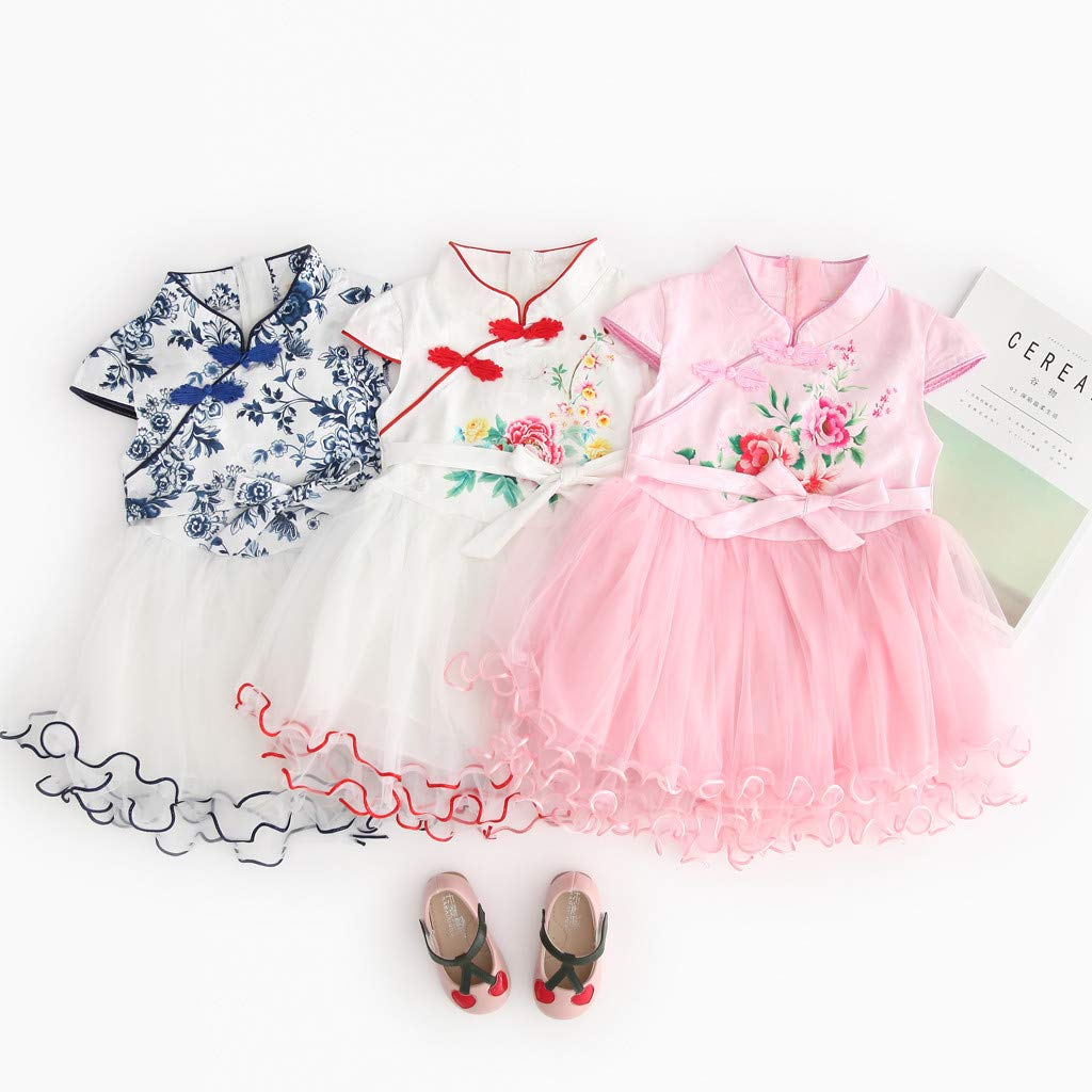 2019 Baby Girls Princess Lace Dress Toddler Kids Embroidery Cheongsam Party Dresses Tulle Tutu 1-5T (4-5 Years, Blue) by Dasuy (Image #7)