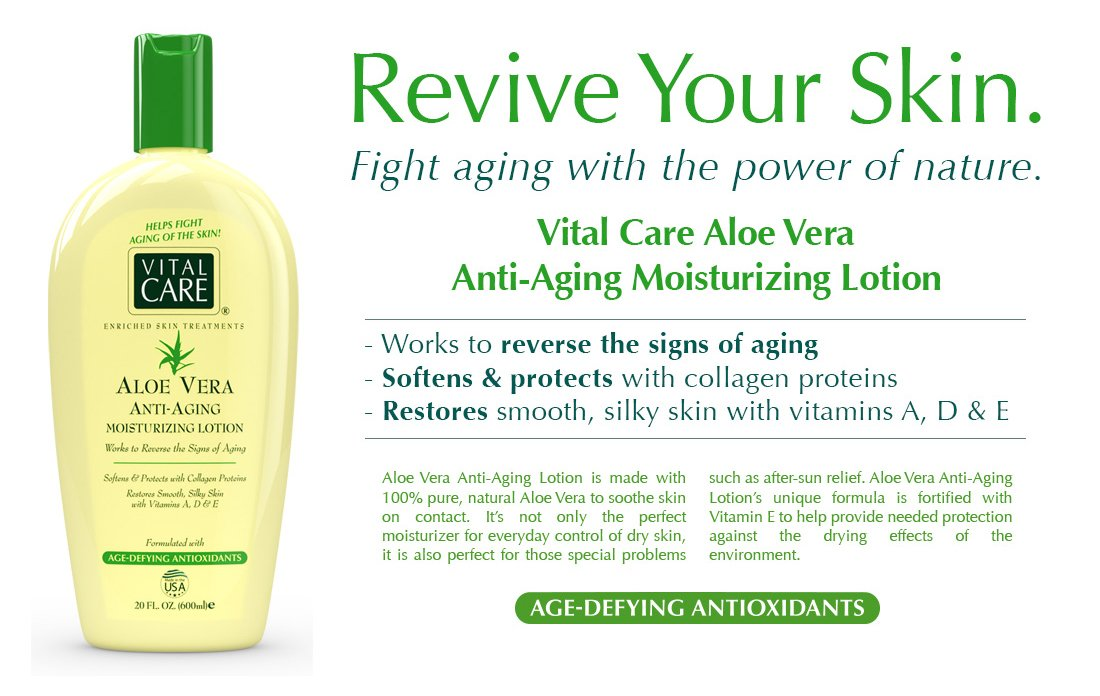Amazon Com Aloe Vera Anti Aging Moisturizing Body Lotion By Vital Care Amazingly Works To Reverse The Signs Of Aging Softens Protects With Collagen Proteins Restores Smooth Silky Skin With Vitamins