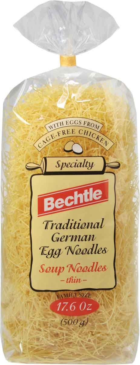 Bechtle Traditional German Egg Noodles, Soup Noodles - Thin,  17.6-Ounce Bags (Pack of 12)