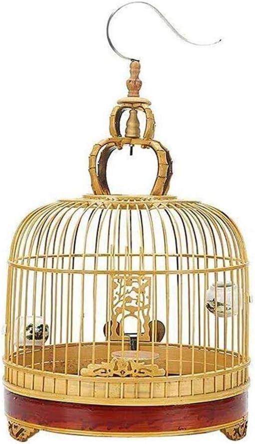 Jaula Grande Jaula de pájaros Redondo Nido para Mascotas Patrón de Grabado Jaula de pájaros Acero Inoxidable Gancho Adecuado para la cría de Aves Jaula Pájaros