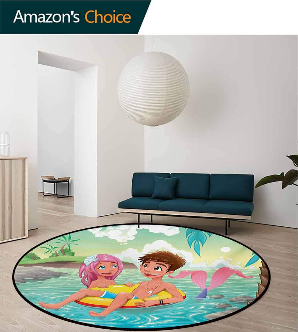 RUGSMAT Mermaid Small Round Rug Carpet,Teen Boy and Cute Mermaid Swimming Together in Tropical Island Fun Love Valentines Door Mat Indoors Bathroom Mats Non Slip,Round-63 Inch Multicolor by RUGSMAT (Image #2)