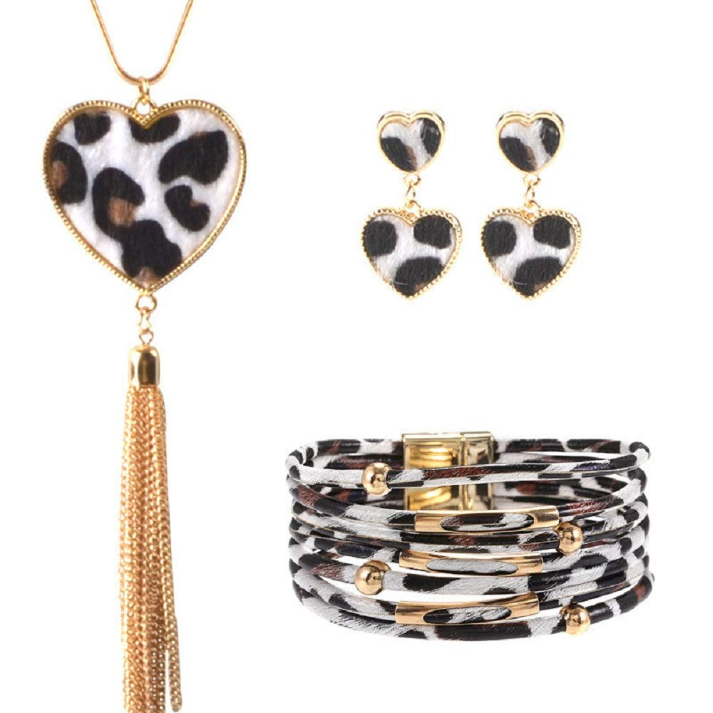 A KANGMOON Trendy Magnetic Multilayer Leopard Ladies Leather Bracelet,Print Earring Pendant,Wedding Party Jewelry Accessories Valentines Day Anniversary Souvenir Gifts for Women Girl
