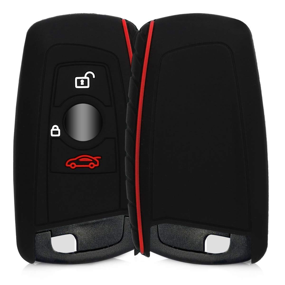 Keyless Go Uniquement BMW 3-Bouton en Silicone Blanc-Noir-Rouge kwmobile Accessoire cl/é de Voiture pour BMW /Étui de Protection Souple Coque pour Clef de Voiture /à Distance