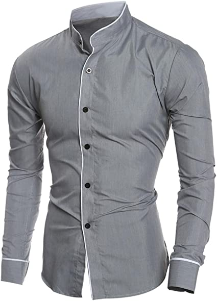 Fashion Men/'s Lapel Shirts Blouse Business Long Sleeve Slim Cotton Blend Tops