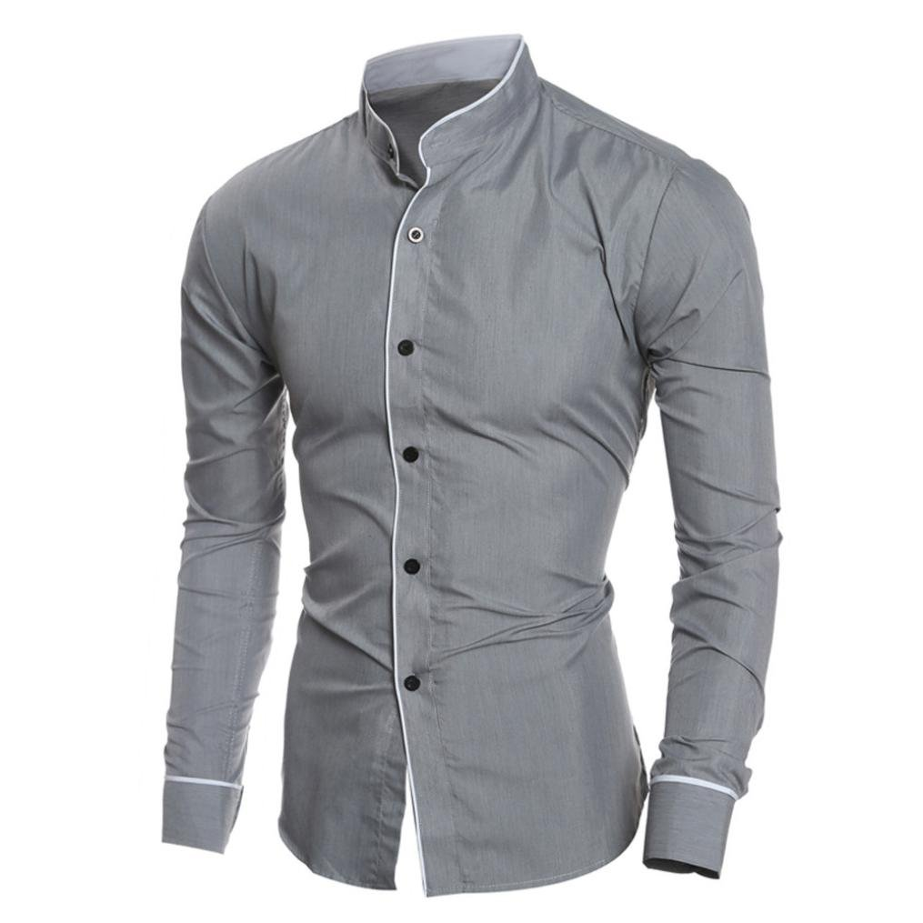 Men Dress Shirts Daoroka Cotton Casual Long Sleeve Work Wear Button Collar Blouse Slim Fit Fashion Comfort Business Tops T Shirt (M, Gray) by Daoroka Men Blouse