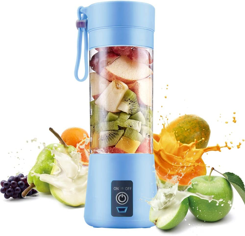 Electric USB Juicer Blender Portable Juicer Cup 380ml Water Bottle Juicer Machine with 6 Blades, 2000mAh Rechargable Battery (Bule)