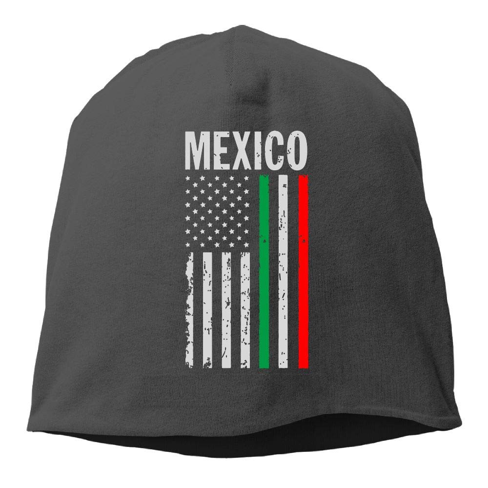 SHA45TM USA Mexico Flag Men Women Winter Helmet Liner Fleece Skull Cap Beanie Hat for Skiing Black