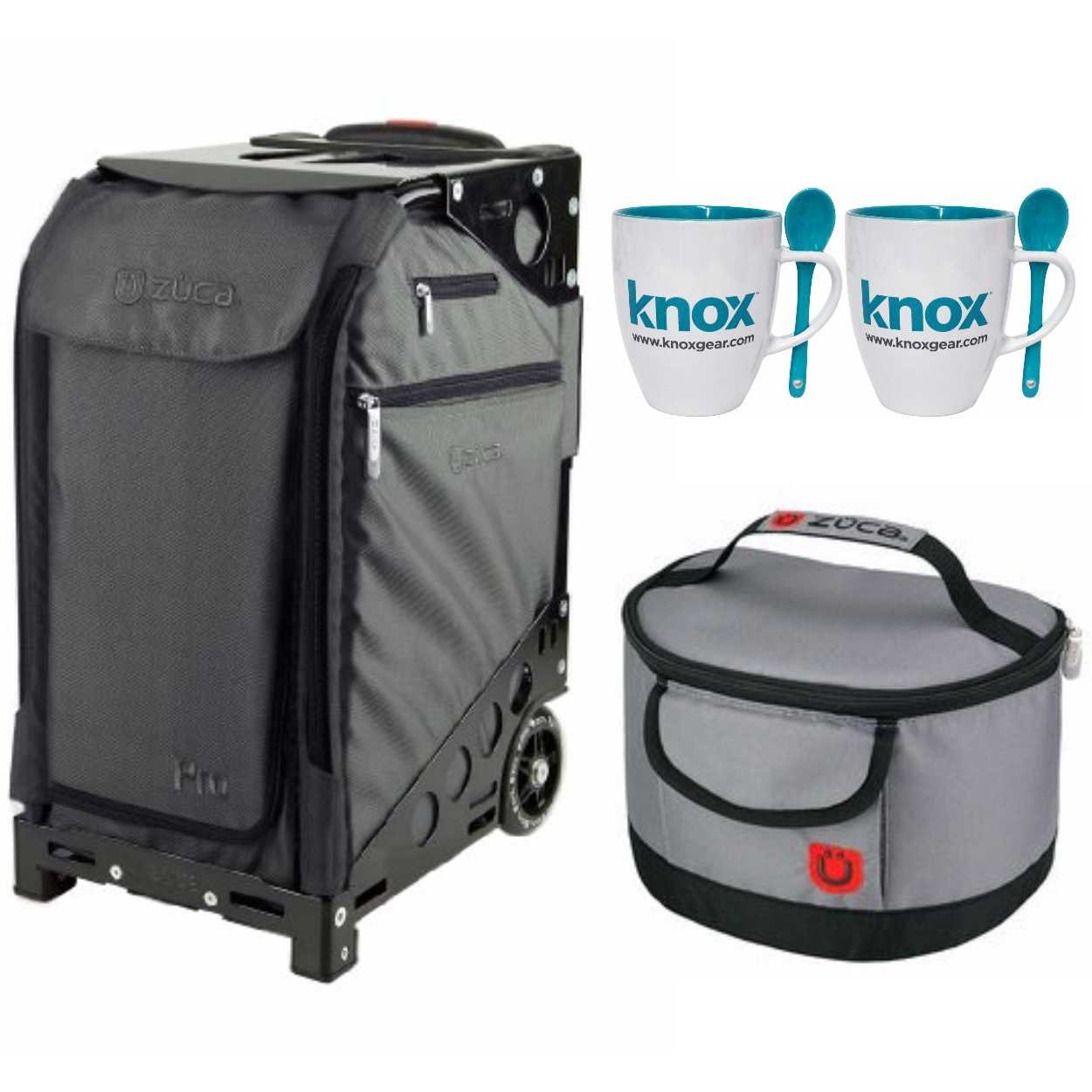 Zuca Pro Travel Case (Graphite/Black Frame) with Pouch Set and Built-In Seat, with Gift Lunchbox and Mug Set