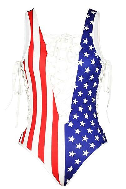 Amazon.com: Traje de baño sexy para mujer con bandera de ...