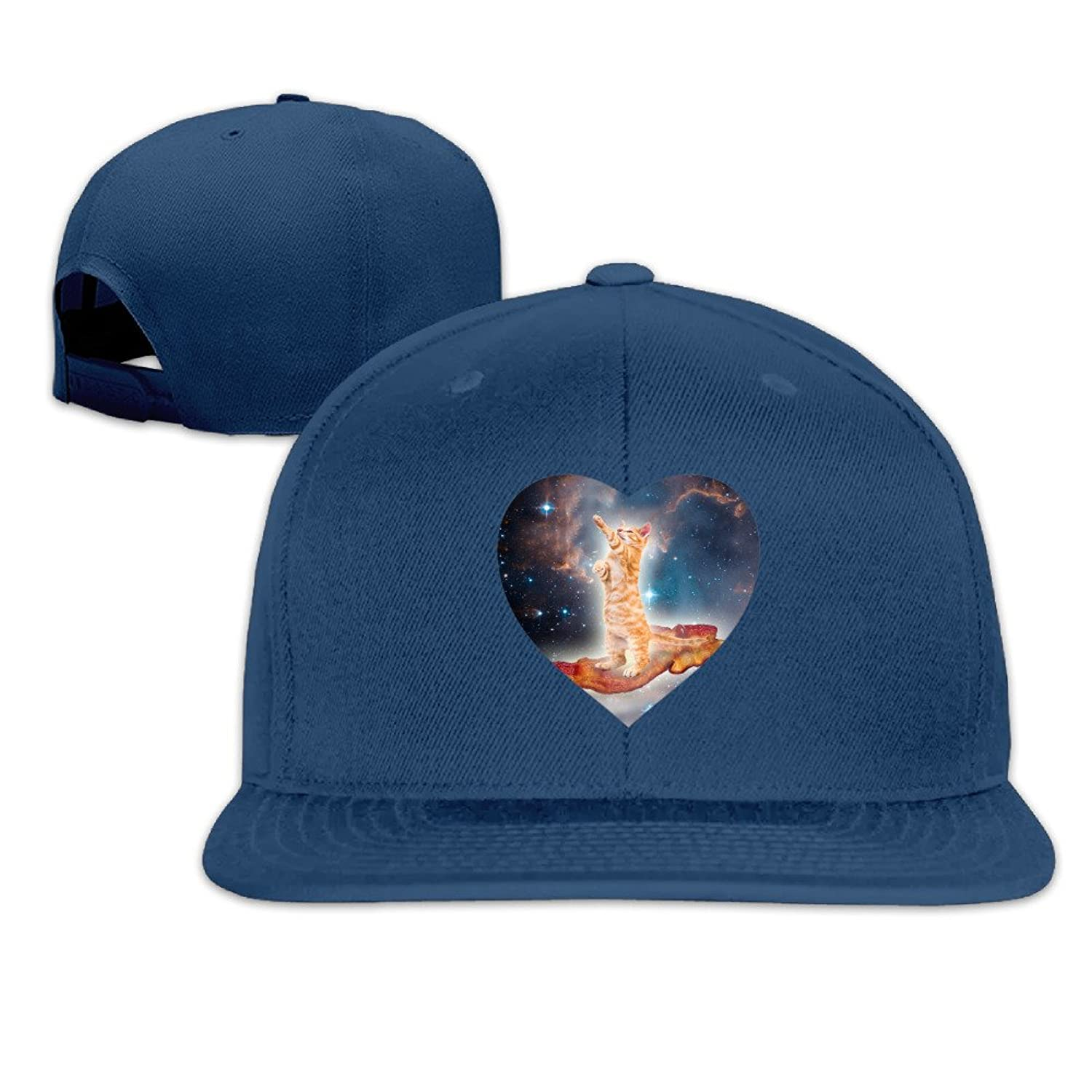 Unisex Fashion Plain Adjustable Bacon Surfing Cat In The Universe Heart Caps Sun Hats Cool Baseball Caps