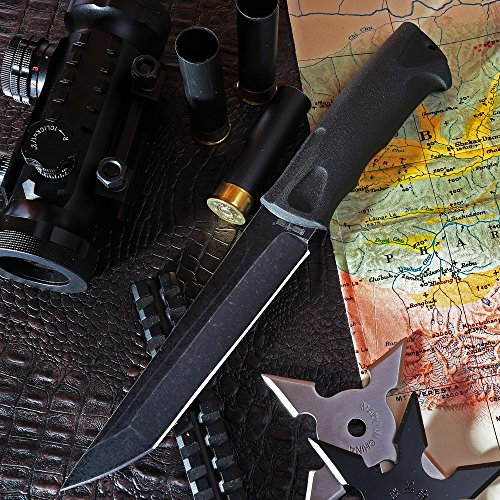 Grand Way Tanto Fixed Blade Knife - Stainless Steel Japanese Tanto Blade Knives - Black Tactical Military Survival Traditional Ninja Knife with Sheath 2786 U-BQ by Grand Way (Image #8)