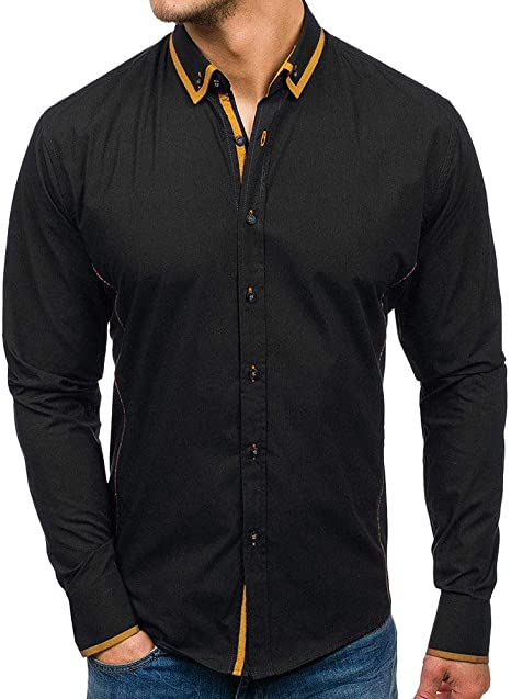 Wodechenshan Camisas Casual para Hombre,Sólido De Moda Casual Masculino Mixto Color Puro Negro Marrón Camisa Manga Larga Casual Mis Camisas Hawaianas Slim Fit Playeras De Hombre: Amazon.es: Deportes y aire libre