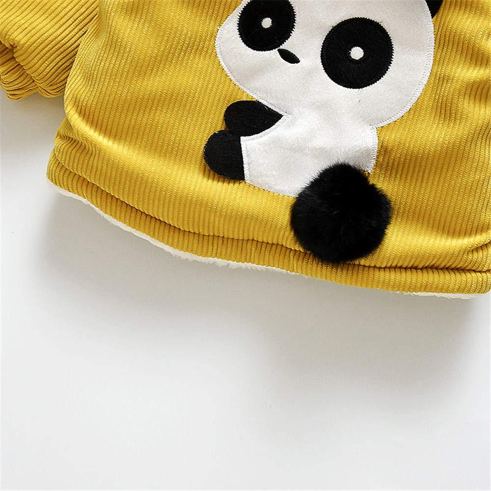 Jchen(TM) Infant Kids Little Girls Boys Cartoon Panda Winter Warm Jacket Hooded Zipper Outerwear Coat for 1-3 Y (Age: 12-18 Months, Yellow) by Jchen Baby Coat (Image #4)