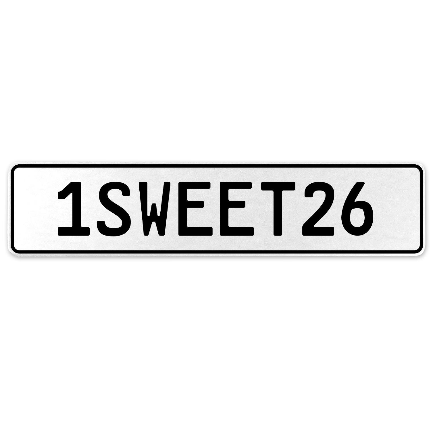 Vintage Parts 554227 1SWEET26 White Stamped Aluminum European License Plate
