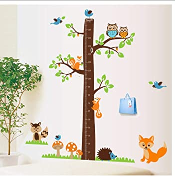 Cartoon Animal Tree Height Measure Wall Stickers For Kids Rooms Decoration Decal