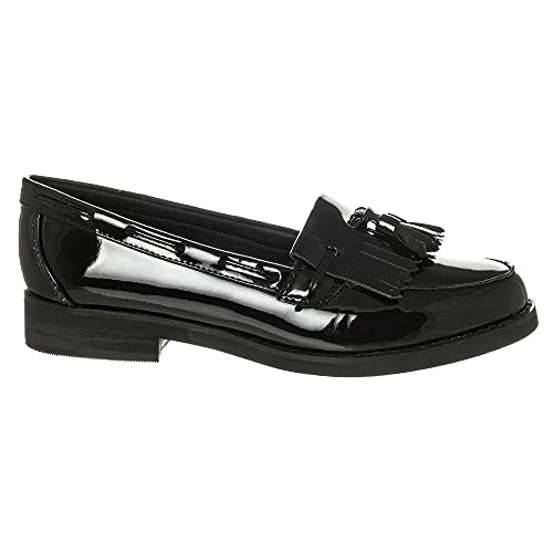 40b77e5532b Womens Flat Loafers Work Office School Tassel Vintage Loafers Flat Block  Stacked Heel Tassel fringe Loafer 8 BLACK PATENT  Amazon.co.uk  Shoes   Bags