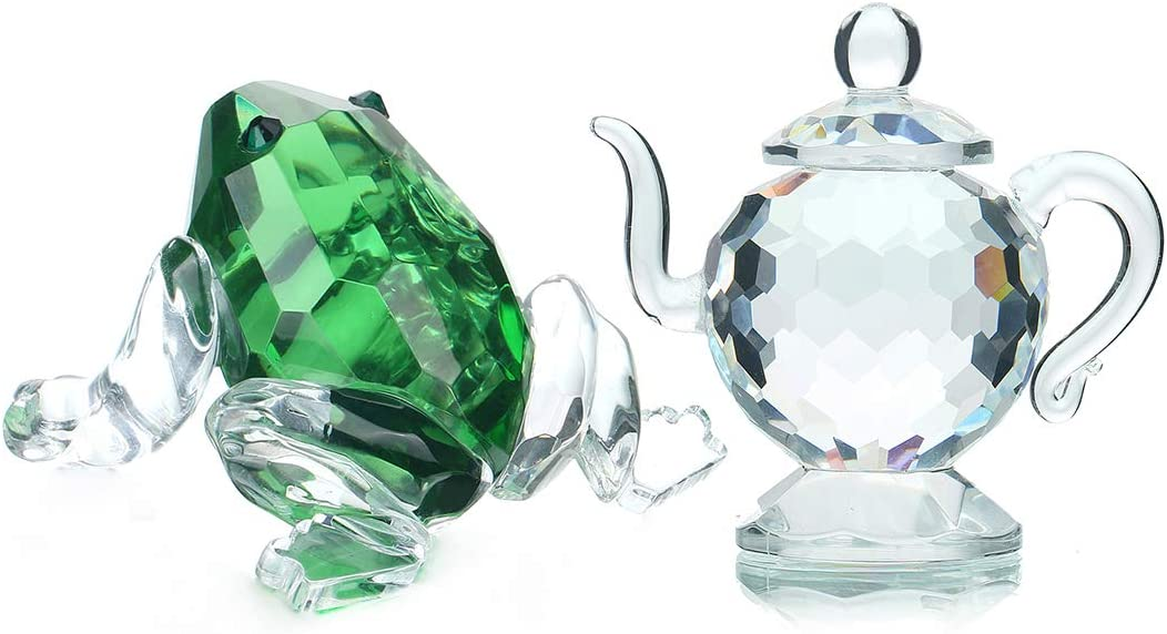 H&D HYALINE & DORA Crystal Figurine Collection Paperweight Home Decor Ornament,Teapot&Frog