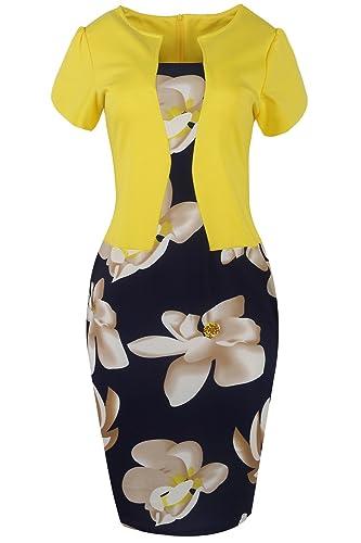 Babyonline Women's Patchwork Floral Print Business Work Bodycon Pencil Dress