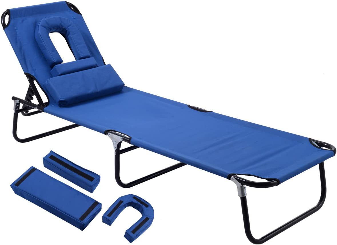 Gymax Beach Chair, Sunbathing Chair Patio Lounge Chair Folding Adjustable Recliner with Hole for Face Blue