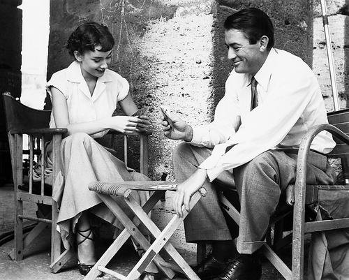 Roman Holiday 11x14 Promotional Photograph rare on set Gregory Peck Audrey Hepburn playing cards