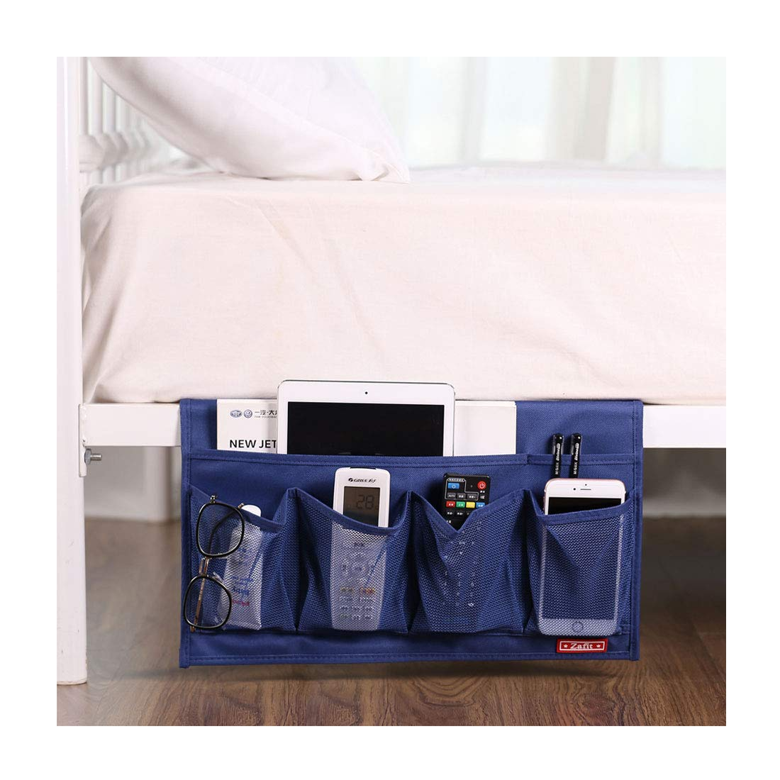 Zafit 6 Pockets Bedside Storage Organizer, Table cabinet Storage Organizer Bedside Organizer Caddy for Remotes Phone Glasses (Black) Zafitbd008