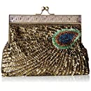 MG Collection Rayna Beaded Sequin Peacock Evening Clutch, Gold, One Size
