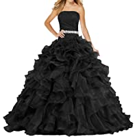 ANTS Women's Pretty Ball Gown Quinceanera Dress Ruffle Prom Dresses