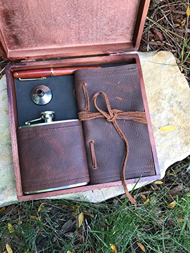 Deluxe Leather Flask, Journal, funnel and pen set in wooden box - Gift Set -
