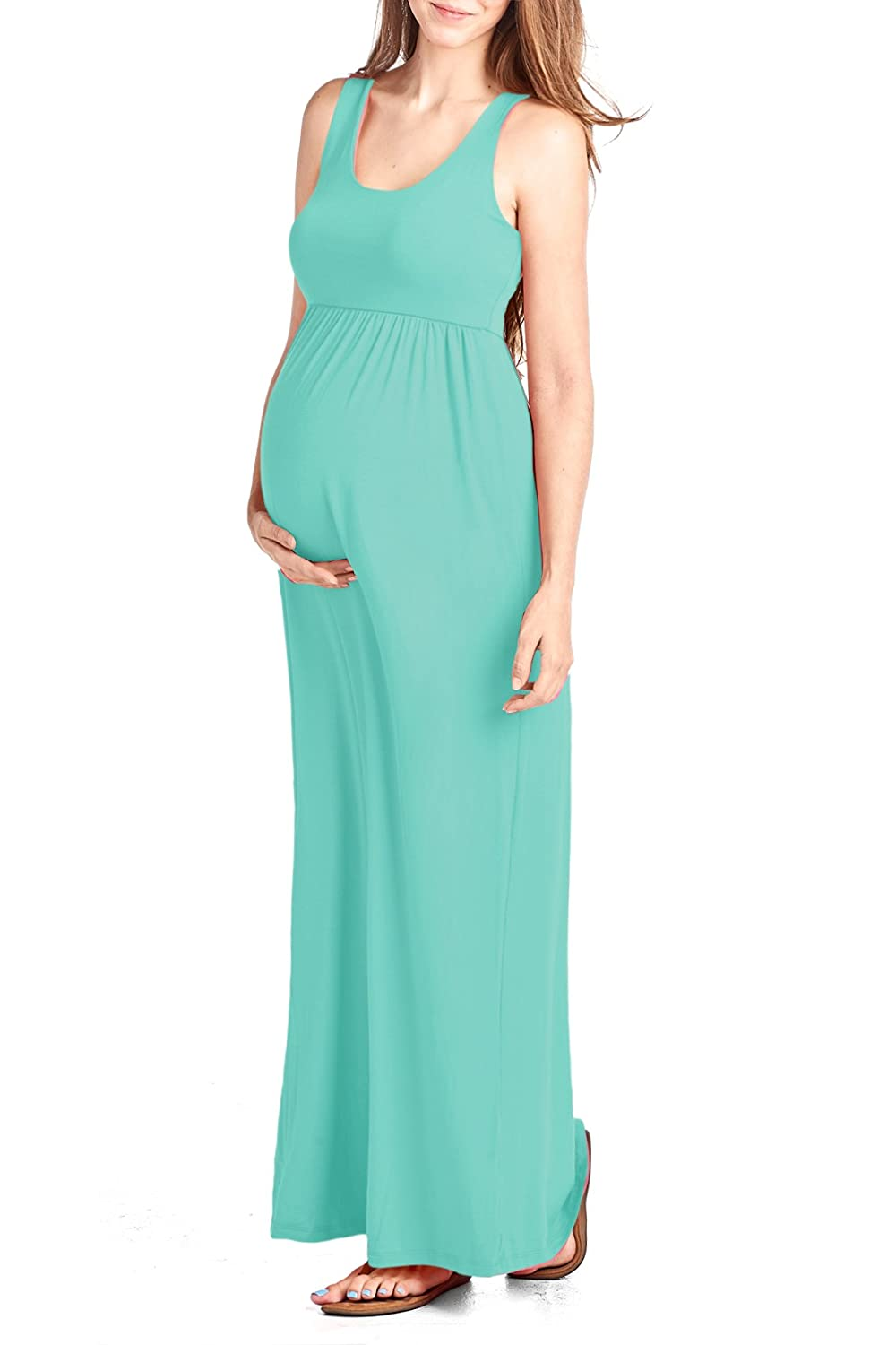 b7afc50aa28 Beachcoco Women s Maternity Maxi Tank Dress Made in USA at Amazon Women s  Clothing store