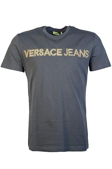 4aed1fdf092d Amazon.com  Versace Jeans RIC Slim Fit Stitched Logo Black T-Shirt  Versace   Clothing